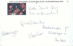 Autogramm - the Beautiful Kantine Band - LIVE at Club Metropolitain - !