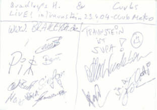 Bradleys H. + Curbs - Autogramm - Live at Club Metropolitain - gruss C. !