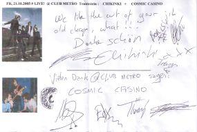 Autogramm  Chikinki + Cosmic Casino  LIVE! at CLUB METRO - gruss  C.