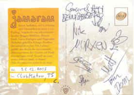 Jamaram - Autogramm - Live at Club Metropolitain - gruss C. !