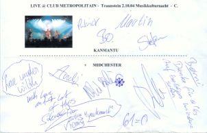 Kanmantu + Midchester Autogramm - Live at Club Metropolitain - gruss C. !