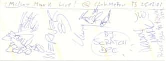 · Mellow Mark-Autogramm - Live at Club Metropolitain - gruss  C. ! ·
