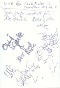 Autogramm - Olli Schulz und sein Hund Marie  - Live at Club Metropolitain - gruss C. !